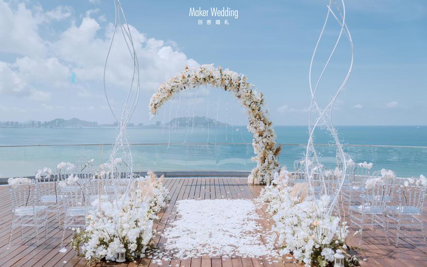 临海池畔婚礼 | 白色简约风
