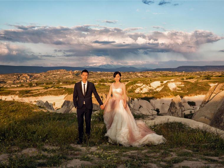 【6月特惠新娘子婚纱】正品Vera Wang 渐变红