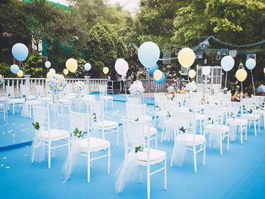 户外清新蓝白婚礼