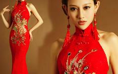 【米亞】热门敬酒服挂脖露背蕾丝凤凰鱼尾旗袍红礼服