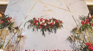 【室内仪式布置】简约大理石纹/红金色系/典雅大方