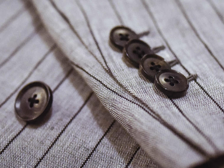 【Bailang】经典纯痳双排两粒扣西装套装