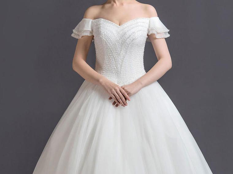 森林仙境——一字肩新娘礼服