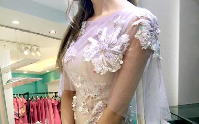 安吉莉娜紫色小仙女敬酒服