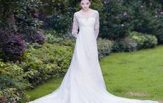 复古巴洛克系列-纯洁蕾丝高腰婚纱