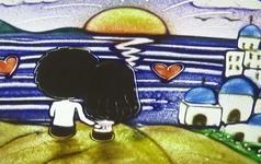 沙画作品《圣托里尼之恋》