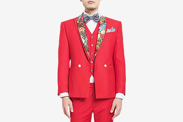 中国红拼花礼服套装