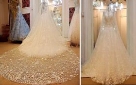 水晶花朵披纱闪耀仙气拖尾婚纱仪式纱典礼纱