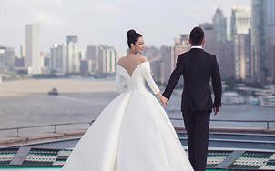 【莎莎新娘】明星同款留·白,简约珍珠缎面仪式纱