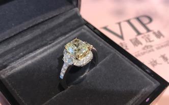【彭家駒珠宝】2.34克拉黄钻-方形钻戒设计
