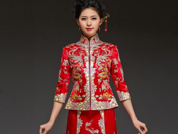 华芬嫁衣-原创裙褂 鸳鸯龙凤褂 手工盘金刺绣