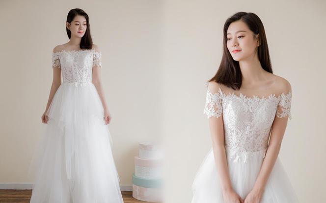 【浩爱婚纱】微雨 一字肩效果层叠纱齐地 轻婚纱