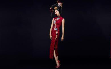 茧迹原创礼服定制 精品刺绣《莺歌》中式S型旗袍