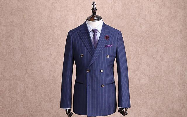 红领西服高级定制—蓝色条纹戗驳领西服套装