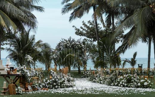 海边草坪婚礼   白绿色森系