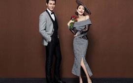 欧式复古波点帽子造型内景婚纱照