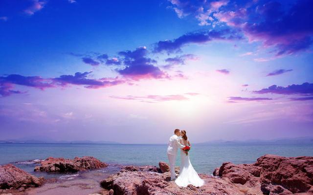婚纱照 旅拍 海景 礁石 沙滩 客片欣赏 遇见爱