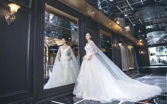 婉纱仙妮品牌-婚纱礼服系列2018新款V领长拖