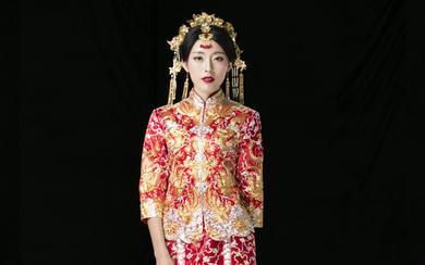 LD[大五福]真丝缎立体盘金高密手绣龙凤褂裙