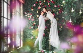 爱斐堡婚纱摄影---内景韩式花墙拍摄