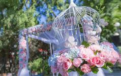 竹园宾馆 粉蓝色清新户外婚礼