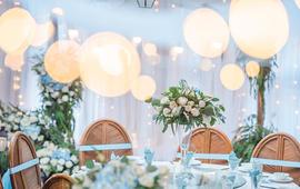 纯西式婚礼 浅蓝色主题户外室内婚礼布置