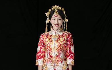 LD[中五福]真丝缎立体盘金手绣龙凤褂裙