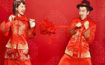 婚纱套餐:中式出阁服+齐地婚纱