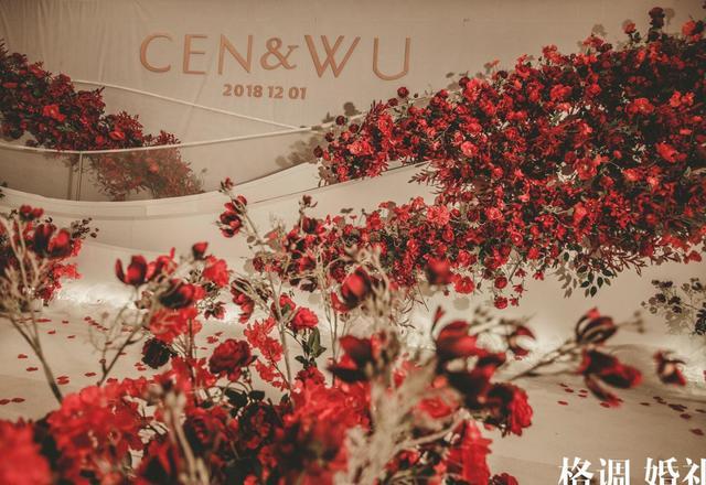 CEN&WU大红色配白色 跟礼服超搭 婚礼布置