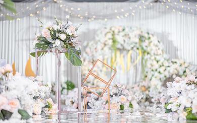 盛夏小清新白绿色干净婚礼