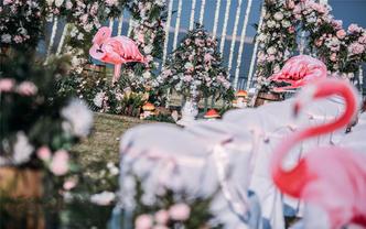 户外海岛火烈鸟主题婚礼「花开三生」