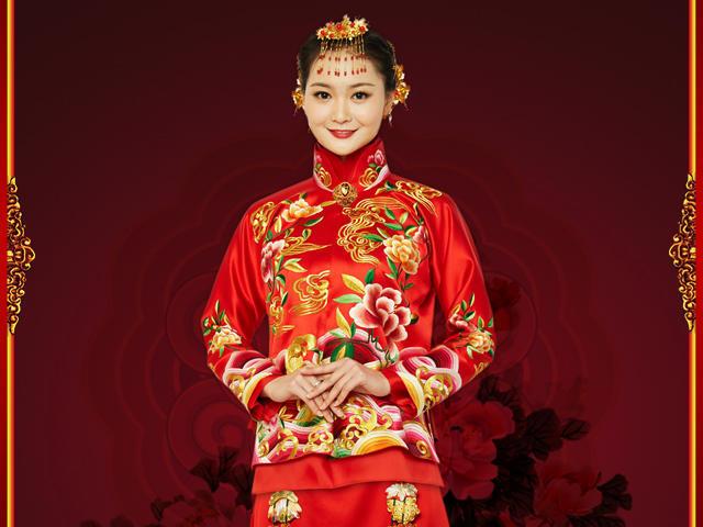 明星款秀禾服 中式婚礼服 手工刺绣 真丝重缎