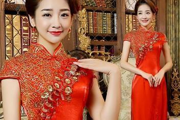2015冬季新款新娘婚礼结婚敬酒长款修身礼服红色
