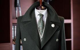 丽诺--时尚墨绿色双排扣大衣