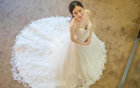 【DW热卖款】金典抹胸羽毛款A版婚纱-婚礼必备