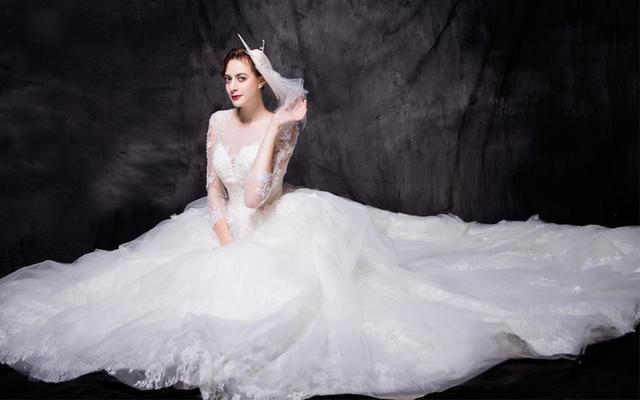 【Leanna】高端全蕾丝长袖拖尾主纱