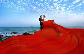 个性海景婚纱照  蒙娜丽莎给你醉美海景婚纱照