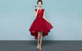 品薇嫁衣酒红色宴会主持服装婚礼伴娘服敬酒服