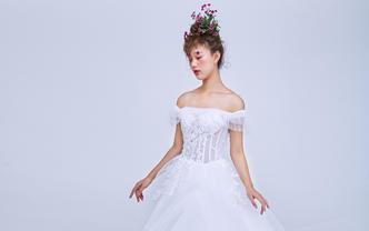 梦幻公主系列-荷叶边设计手工透视一字肩长托主纱