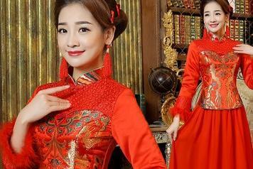2015冬装新款新娘蕾丝长袖旗袍红色结婚锦缎秀禾
