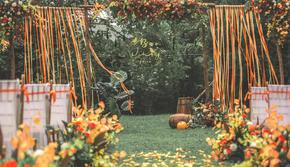 南瓜色棒棰岛清新户外婚礼 | 橙心实意
