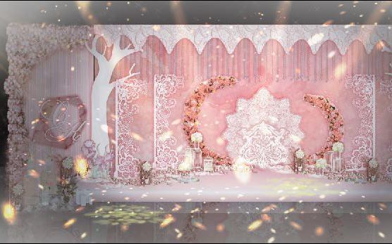 杭州花家山庄韩式粉色婚礼布置案例
