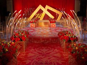 香槟色红色婚礼布置【栋景婚礼策划】流光