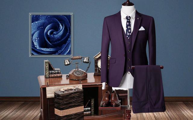 苏色定制 | 玛佐尼暗紫色套西