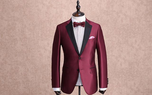 红领西服高级定制—红色戗驳领礼服套装