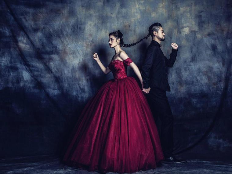 【Bella Luna】酒红一字肩公主蓬蓬裙