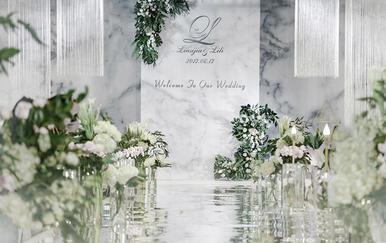 【小预算婚礼】简约小清新+大理石纹+镜面地毯