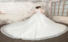 重手工水晶钻挂脖露背大拖尾婚纱典礼纱仪式纱