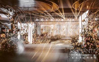 香槟色花艺现代风真实婚礼