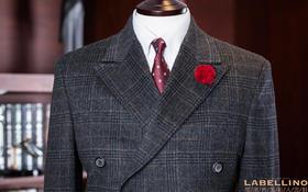 丽诺经典--深灰色格纹双排扣大衣